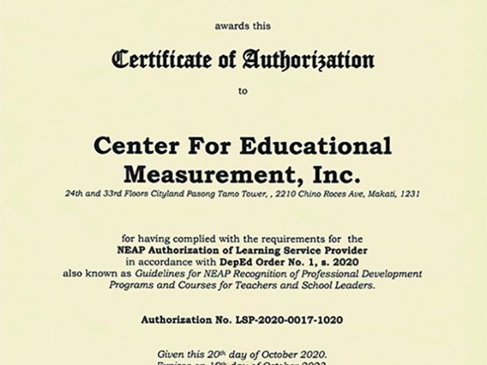 NEAP Certificate of Authorization - CEM