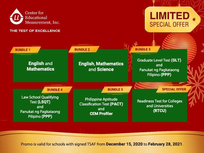 CEM Online Assessment Holiday Promo Bundles