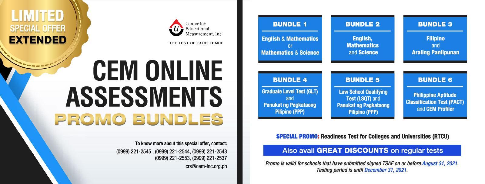 CEM Online Assessment Promo Bundles - EXTENDED!