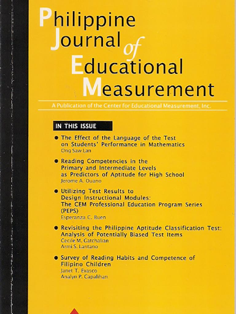 Philippine Journal of Educational Measurement, Volume XI, Issue 01