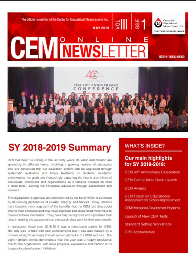 CEM Online Newsletter, Vol. III, Issue 1 (May 2019)