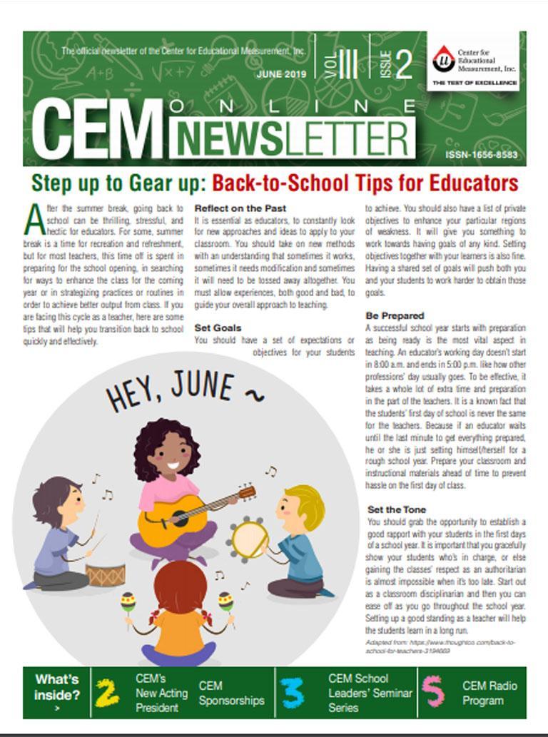 CEM Online Newsletter, Vol. III, Issue 2 (June 2019)