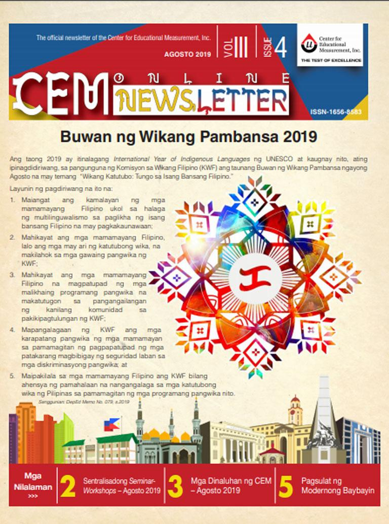 CEM Online Newsletter, Vol. III, Issue 4 (August 2019)