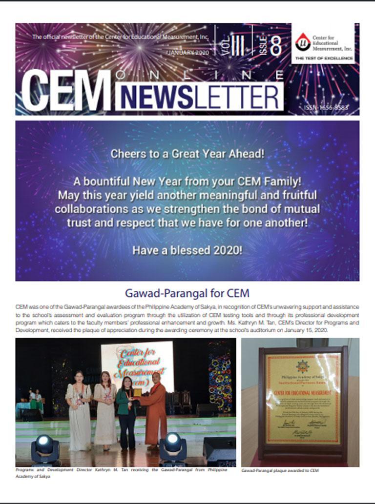 CEM Online Newsletter, Vol. III, Issue 8 (January 2020)