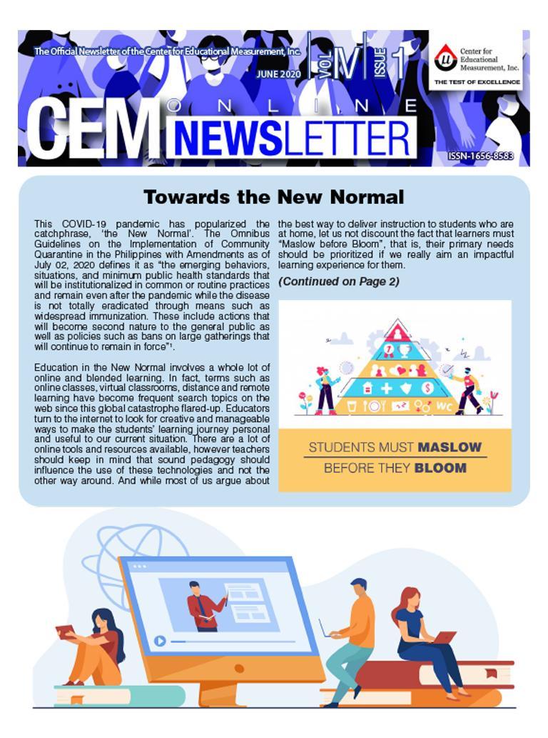 CEM Online Newsletter Vol. IV, Issue 01 (June 2020)