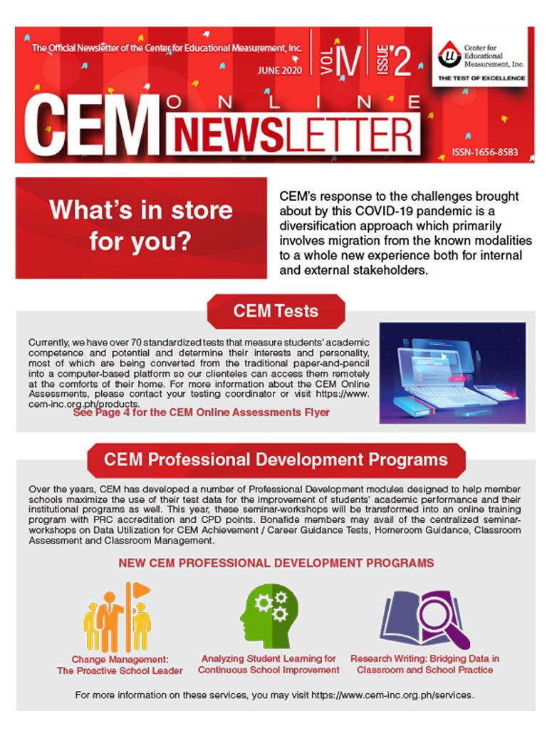 CEM Online Newsletter Vol. IV, Issue 02 (July 2020)