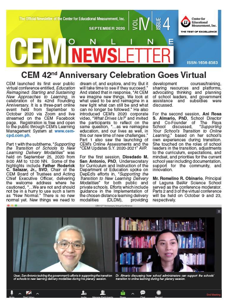 CEM Online Newsletter Vol. IV, Issue 04
