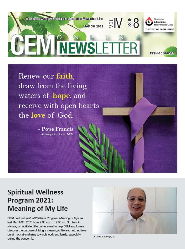 CEM Online Newsletter Vol. IV, Issue 08