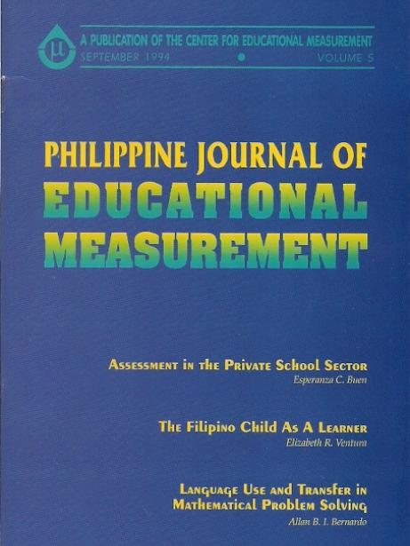 Philippine Journal of Educational Measurement Volume V, Issue 01